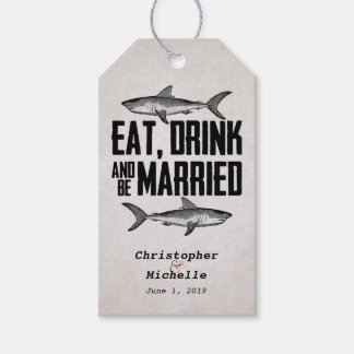 Eat, Drink and be Married Shark Wedding Gift Tags Pack Of Gift Tags