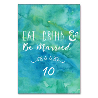 Eat, Drink, and Be Married Turquoise Wedding Table Cards