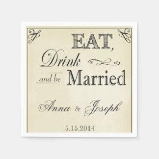 Eat Drink and be married vintage napkins Paper Napkins