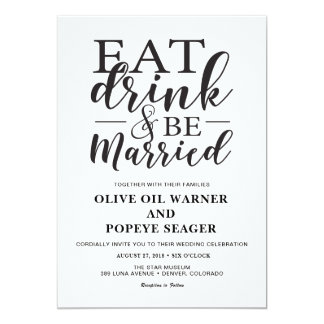 Eat Drink and Be Married Wedding Invitation