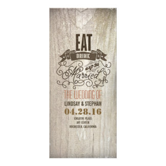 Eat drink and be married wedding programs personalized rack card