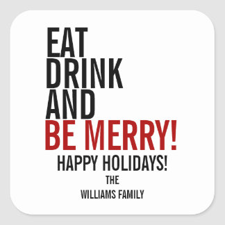 Eat Drink and Be Merry Christmas Holiday Sticker