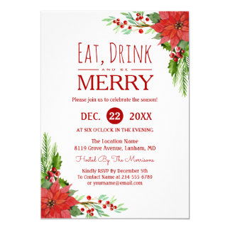 Eat Drink and Be Merry Floral Chic Holiday Party Card