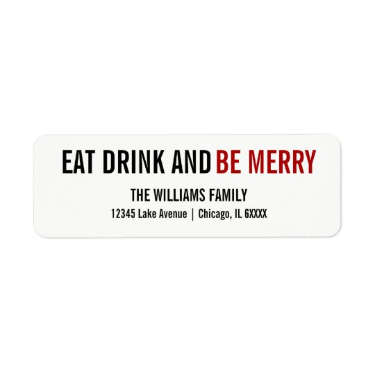 Eat Drink and Be Merry Holiday Address Label