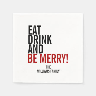 Eat Drink and Be Merry Holiday Paper Napkins