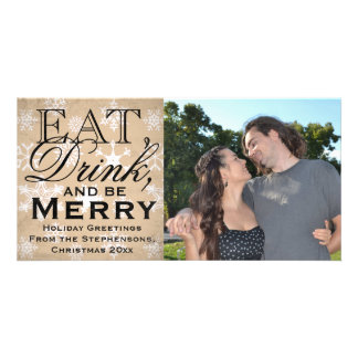 Eat, Drink, and Be Merry Snowflake Holiday Card