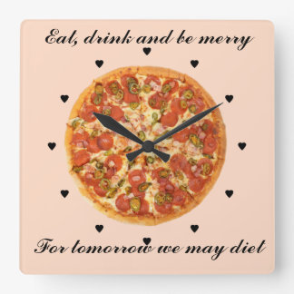 Eat Drink and Be Merry Square Wall Clock