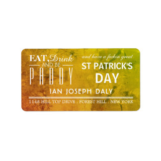 Eat, Drink and be Paddy St Patrick's Day Label