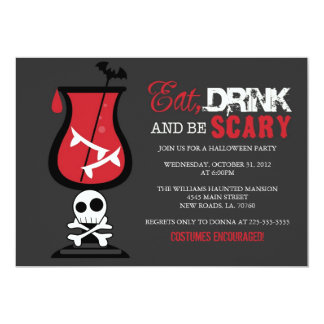 "Eat Drink and Be Scary | Cocktail 5"" X 7"" Invitation Card"