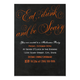 Eat drink and be scary orange Invitation