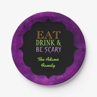 Eat Drink and Be Scary Purple Halloween Paper Plate