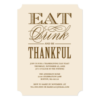 Eat Drink and be Thankful Thanksgiving Dinner Card