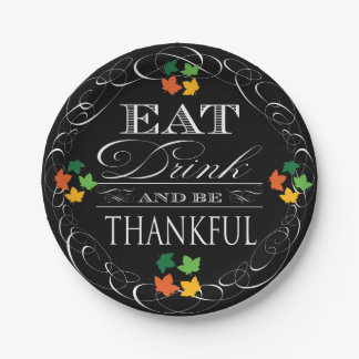 Eat Drink and Be Thankful Thanksgiving Paper Plate