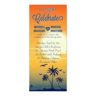 """Eat Drink and Celebrate Summer Sunset Wedding 4"""" X 9.25"""" Invitation Card"""