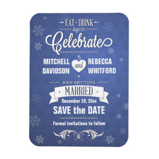 Eat Drink and Celebrate Winter Blue Save the Date Rectangular Photo Magnet