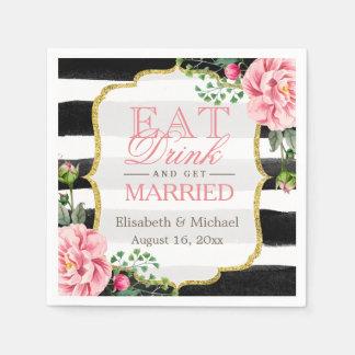 Eat Drink and Get Married Elegant Floral Stripes Disposable Napkin