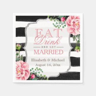 Eat Drink and Get Married Pink Floral Stripes Paper Napkins