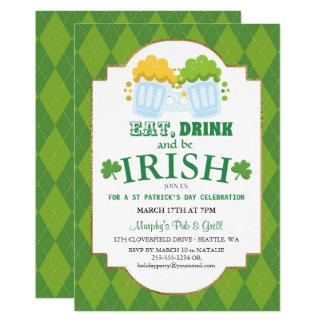 Eat, Drink, Be Irish St Patrick's Party Invitation