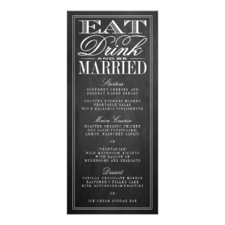 Eat, Drink & Be Married Chalkboard Wedding Menus Rack Card Design
