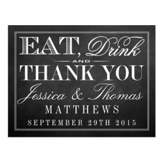 Eat, Drink & Be Married Chalkboard Wedding Postcard