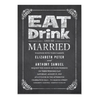 Eat, Drink & Be Married Elegant Chalkboard Wedding Card