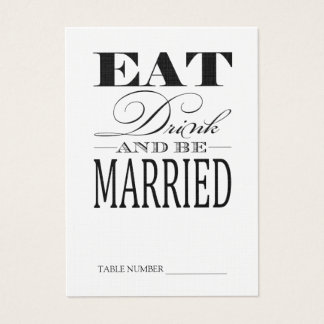 Eat Drink & be Married, Linen Table Number Cards