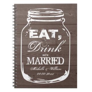 Eat drink be married mason jar wedding guest book