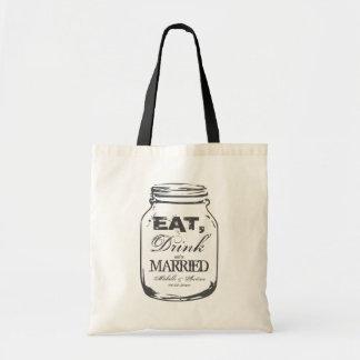 Eat drink & be married mason jar wedding tote bag