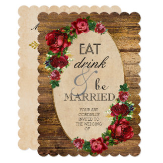 Eat Drink & Be Married Rose Wood Wedding Scallop Card