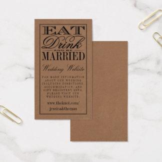 Eat, Drink & Be Married Rustic Kraft Wedding Business Card