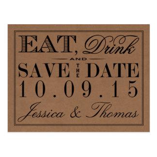 Eat, Drink & Be Married Rustic Kraft Wedding Postcard