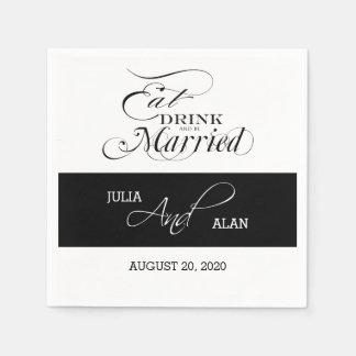 Eat, Drink, Be Married Wedding Paper Napkins