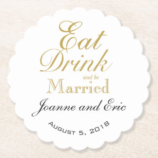 Eat drink & be married wedding pub custom coaster