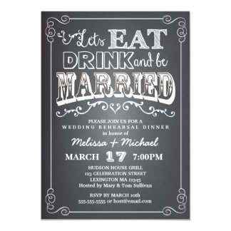 """Eat, Drink & Be Married Wedding Rehearsal Dinner 5"""" X 7"""" Invitation Card"""