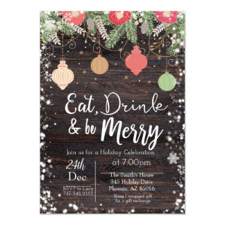 Eat, Drink & Be Merry Christmas Card, Rustic, Xmas Card