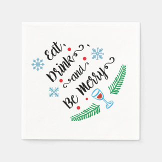 Eat Drink & Be Merry Christmas Cocktail Napkin Paper Napkins