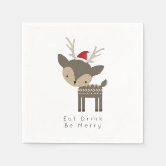Eat Drink Be Merry Christmas Deer In Red Santa Hat Disposable Napkins