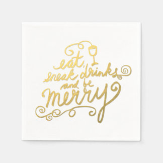 Eat, Drink Be Merry Faux Gold Foil Holiday Party Disposable Napkins
