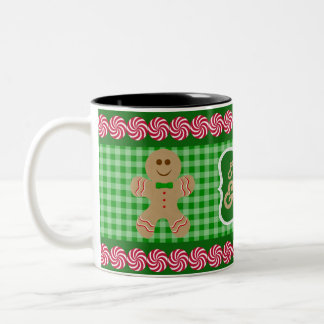 Eat, Drink & Be Merry Green Plaid Gingerbread Mug
