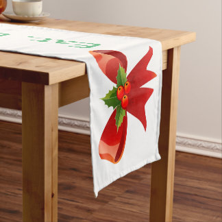 Eat Drink Be Merry Red Bow Table Runner
