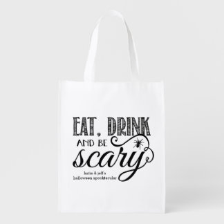 Eat, Drink & Be Scary Halloween Party Bag Reusable Grocery Bag