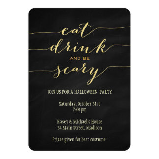 Eat, Drink, Be Scary Halloween Party Invitation