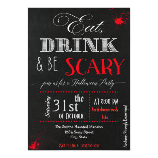 Eat drink be scary red Halloween Invitation