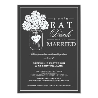 "Eat Drink & Get Married Couples Shower Invitation 5"" X 7"" Invitation Card"