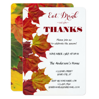Eat Drink & Give Thanks Fall Leaves Celebration Card