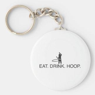 Eat. Drink. Hoop Basic Round Button Keychain