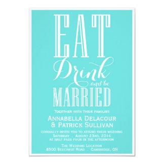 Eat Drink Married Blue Wedding Invitation