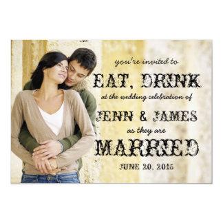 Eat Drink Married Rustic Photo Wedding Invitation