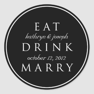 EAT DRINK MARRY black white wedding favor label Stickers