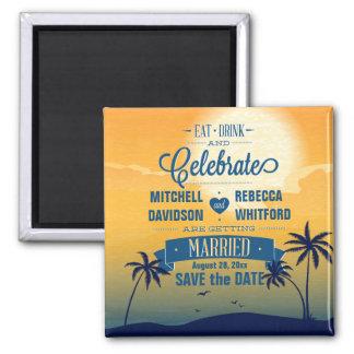 Eat Drink n Celebrate Summer Sunset Save the Date Refrigerator Magnet